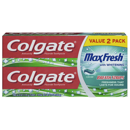 Colgate Max Fresh Toothpaste with Mini Breath Strips, Clean Mint - 6 Ounce (2 Pack)