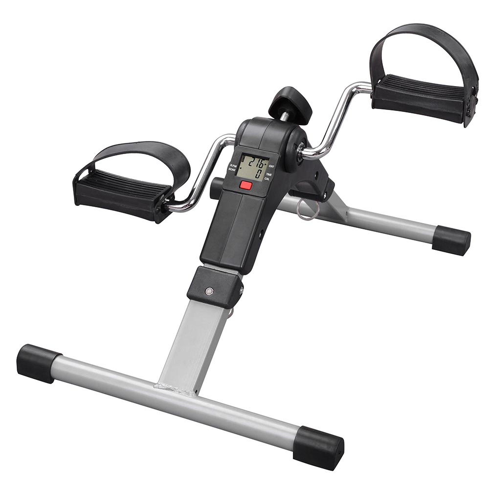 AW Folding Arm and Leg Pedal Exerciser with LCD Display Indoor Portable Mini Exercise Bike Resistance Adjustable