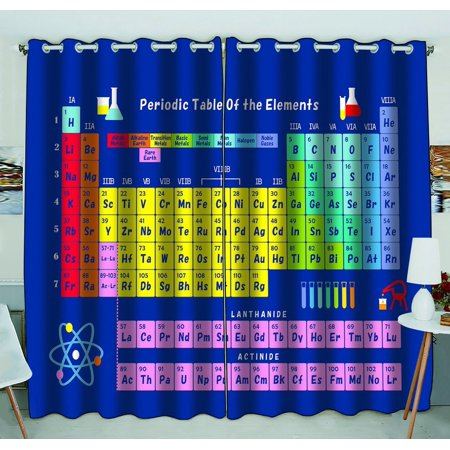 GCKG Periodic Table of Chemical Elements Blackout Curtains Window treatment Panel Drapes 52(W) x 84(H) inches (Two Piece)