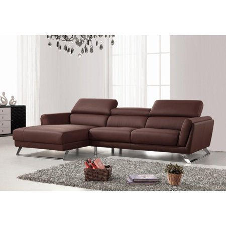 Pleasing Vig Divani Casa Doss Modern Brown Eco Leather Sectional Sofa Left Facing Chaise Machost Co Dining Chair Design Ideas Machostcouk