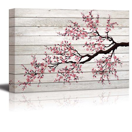 wall26 - Illustration of a Cherry Blossom Branch Over Wood Panels - Canvas Art Home Decor - 24x36 (Cherry Blossom Illustration)