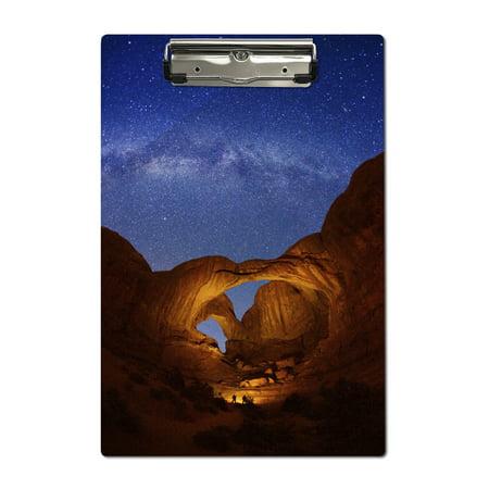 Double Arch, Arches National Park, Utah - Milky Way Stars - Lantern Press Photography (Acrylic (Arch Acrylic Award)
