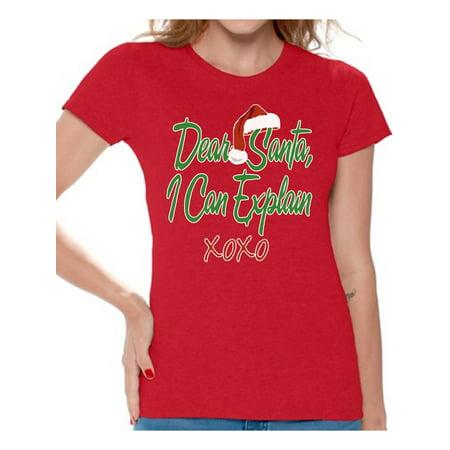 Awkward Styles Dear Santa I Can Explain XOXO Ugly Christmas Shirt Santa Hat Women's Holiday Top Christmas Shirts for Women Xmas Gifts Santa Claus XOXO Women's Shirt Xmas Holiday Party Top