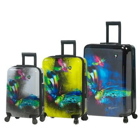 8a9e3b28b Mia Toro ITALY Prado Butterfly Kiss 3-piece Fashion Hardside Spinner  Luggage Set