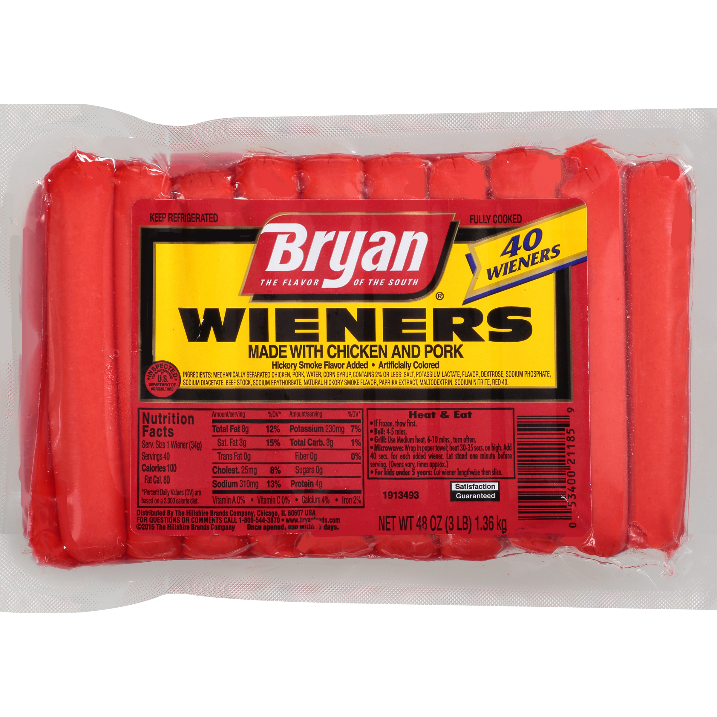 Bryan® Hickory Smoke Wieners, 40 Count