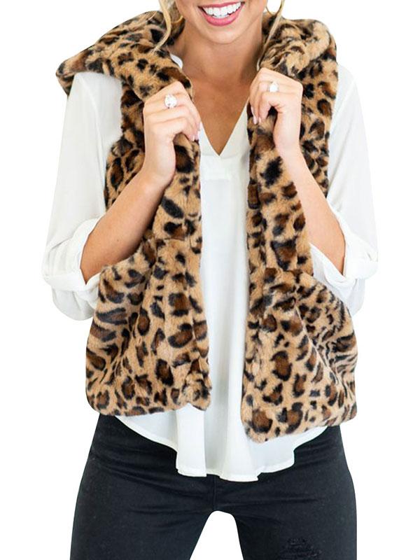 Fashion Women/'s Hooded Sleeveless Leopard Print Pockets Warm Faux Fur Vest Top
