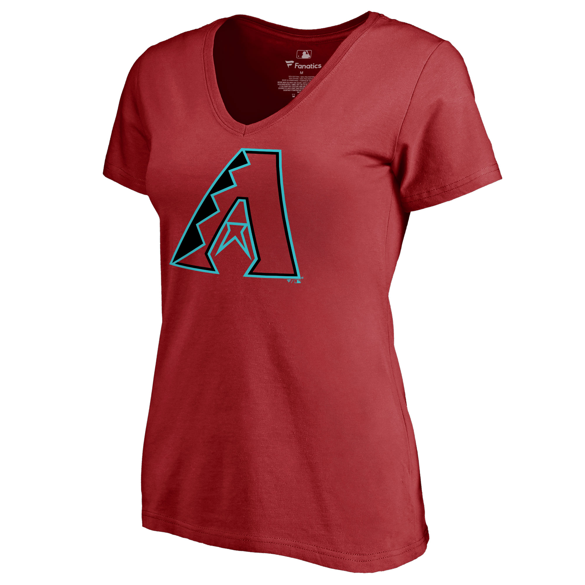 Arizona Diamondbacks Women's Team Color Primary Logo V-Neck T-Shirt - Red