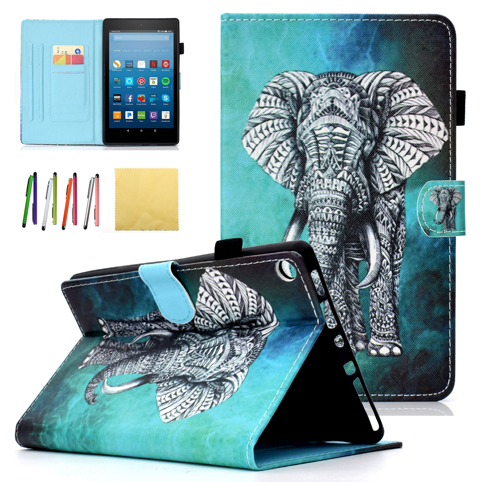 Kindle HD 8 (8th/ 7th Generation, 2018 & 2017) & Fire HD 8 2016 and 2015 Kids Case, Goodest PU Leather Slim Folio Cartoon Stand Wallet Covers for All New Amazon HD 8.0 inch Tablet, Elephant