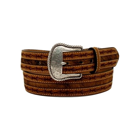 Nocona Western Belt Mens Barbwire Edges Hair Leather Rope Tan