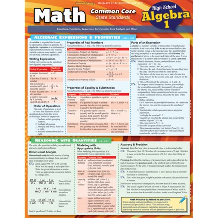 Math Common Core Algebra 1 - 9Th Grade (Summer Math Skills Sharpener Algebra 1 Answers)