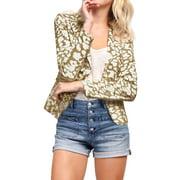 Women's Leopard Prints Peaked Lapel Blazer White (Size XL / 16)