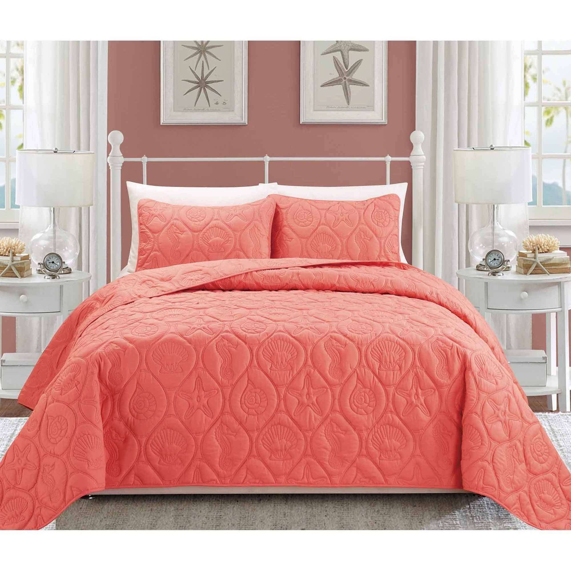 Better Homes and Gardens Coral and Shells Bedding Quilt Set ... : coral quilt - Adamdwight.com