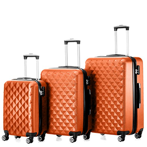 "Timmari Hard Lightweight Expandable ABS Luggage Set – 29"" + 26"" + 21"" (Peach)"