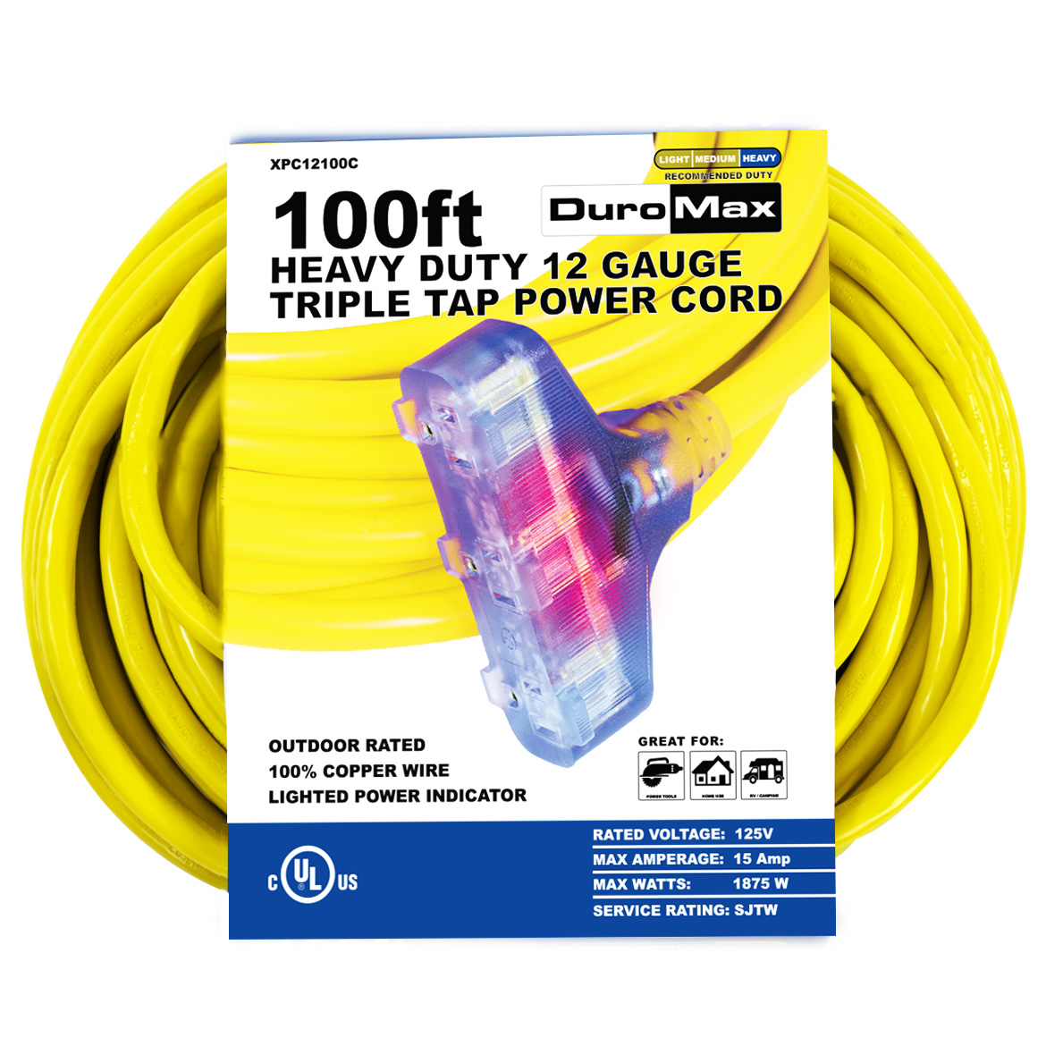 DuroMax XPC12100C 100-Foot 12 Gauge Triple Tap Extension Power Cord