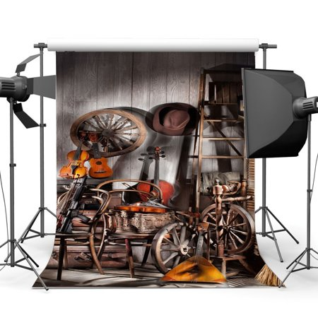 ABPHOTO Polyester 5x7ft West Cowboy Backdrop Old Barn Vintage Wheel Wood Ladder Guitar Hat Rustic Stripes Wood Plank Golden Wheat Interior Photography Background Kids Adults Photo Studio Props