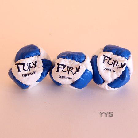 Triple the Fury - Zeekio Fury Footbag - 3 Sack Set - Blue and White -Hacky Sack
