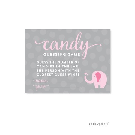 Candy Guessing Game Bubblegum Pink Girl Elephant Baby Shower Fun Game Cards, 30-Pack](Fun Halloween Candy Games)