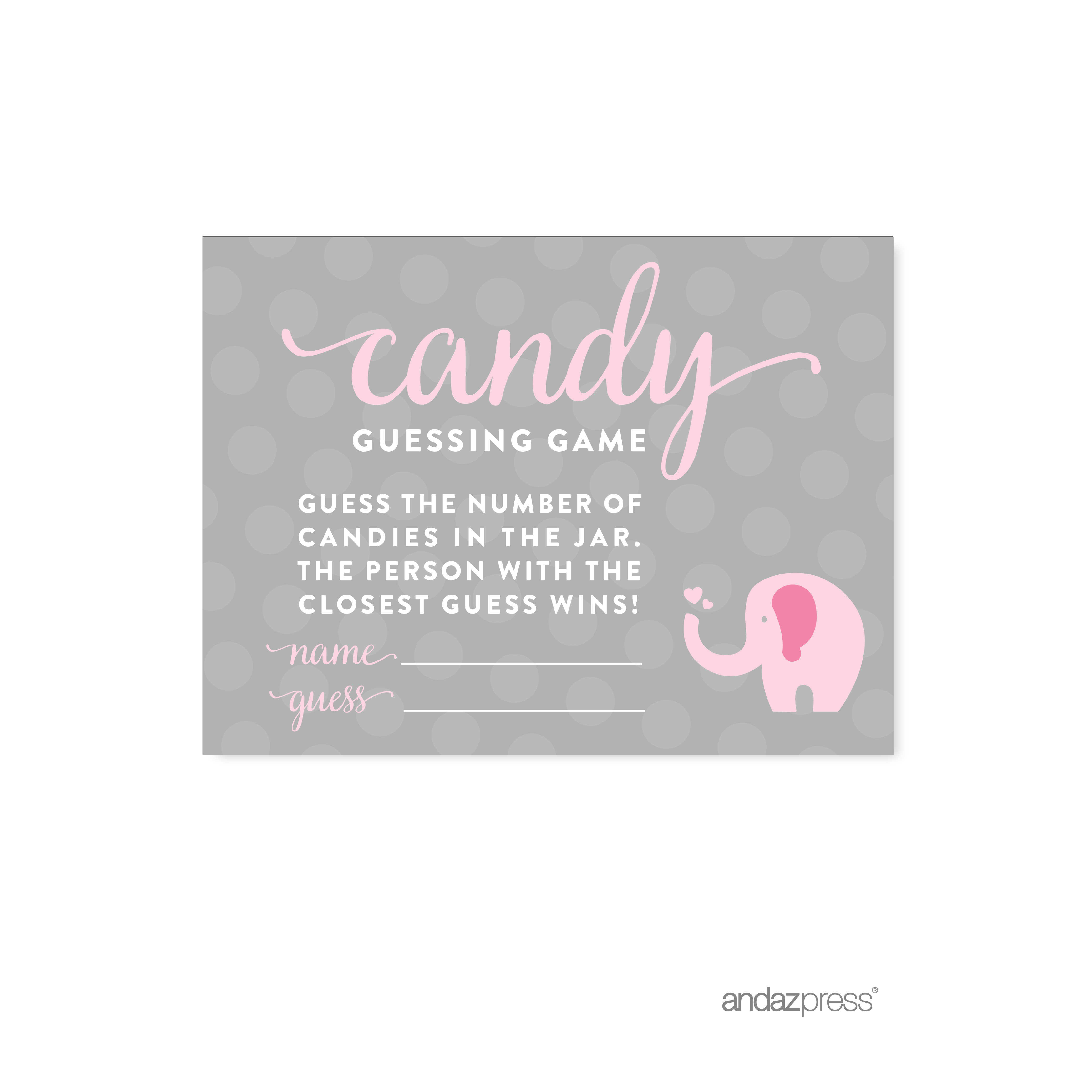 Candy Guessing Game Bubblegum Pink Girl Elephant Baby Shower Fun Game  Cards, 30 Pack