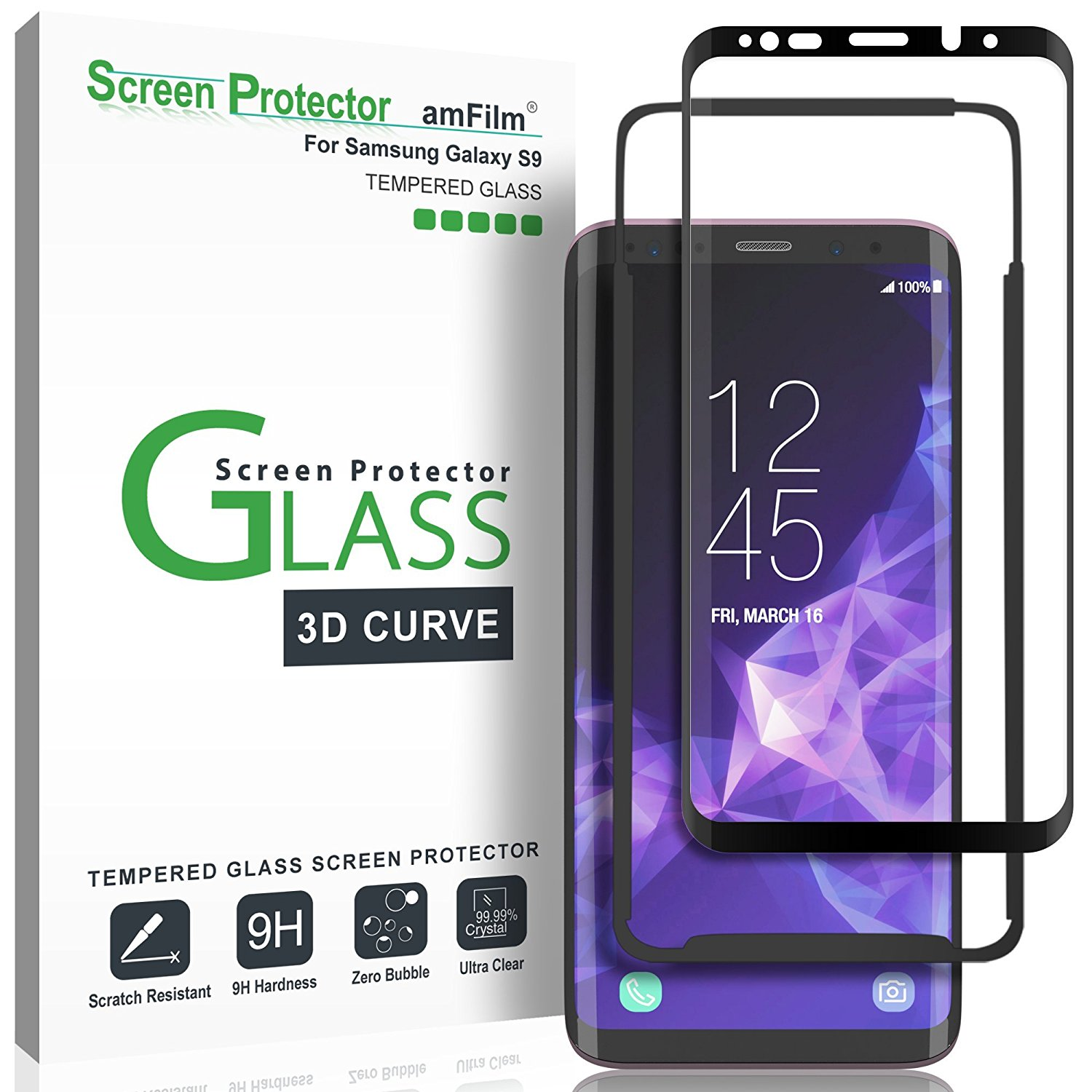 Galaxy S9 Screen Protector Glass - amFilm Full Cover (3D Curved) Tempered Glass Screen Protector with Dot Matrix for Samsung Galaxy S9 (1 Pack, Black)