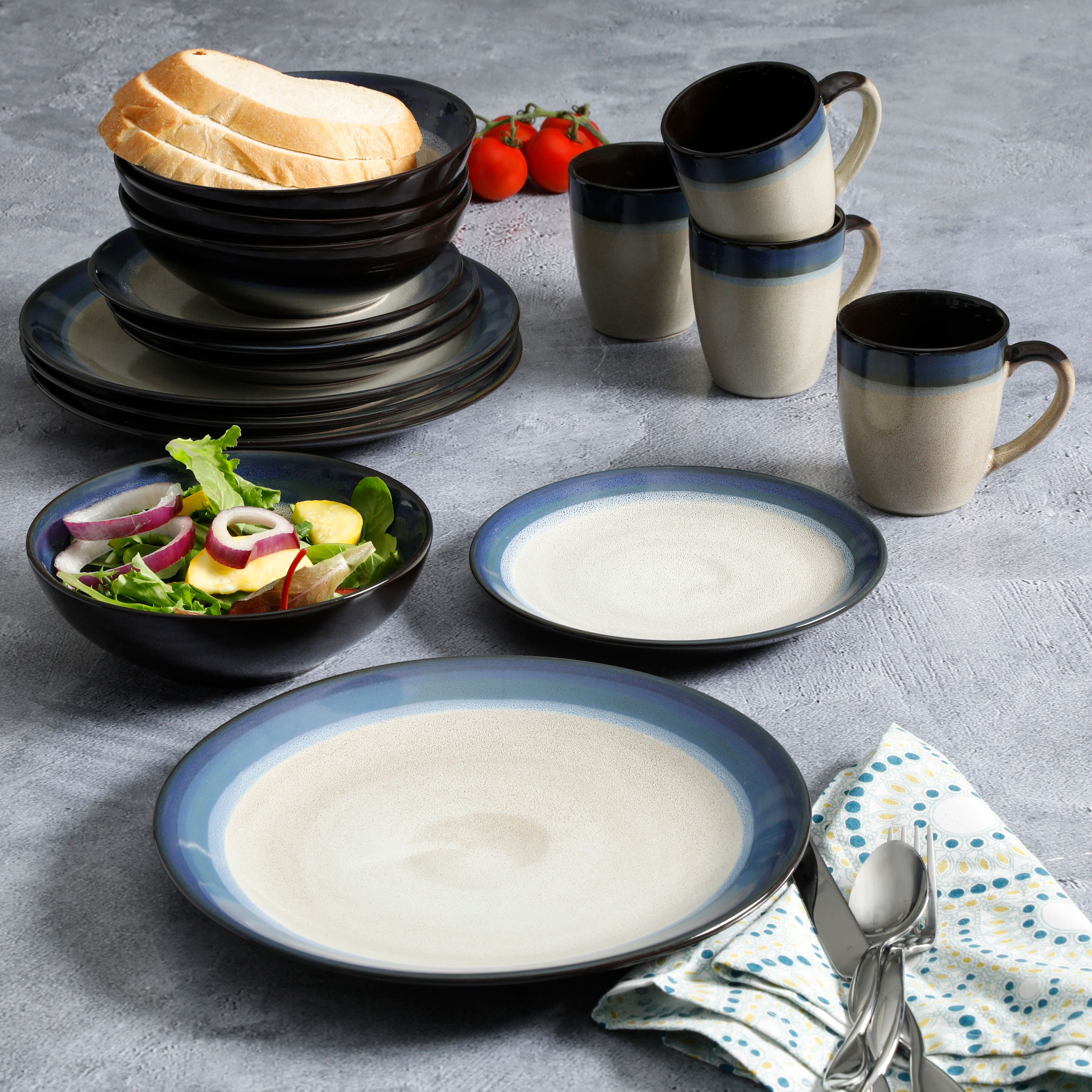 Gibson Home Terra Bella Blue 16-Piece Dinnerware Set