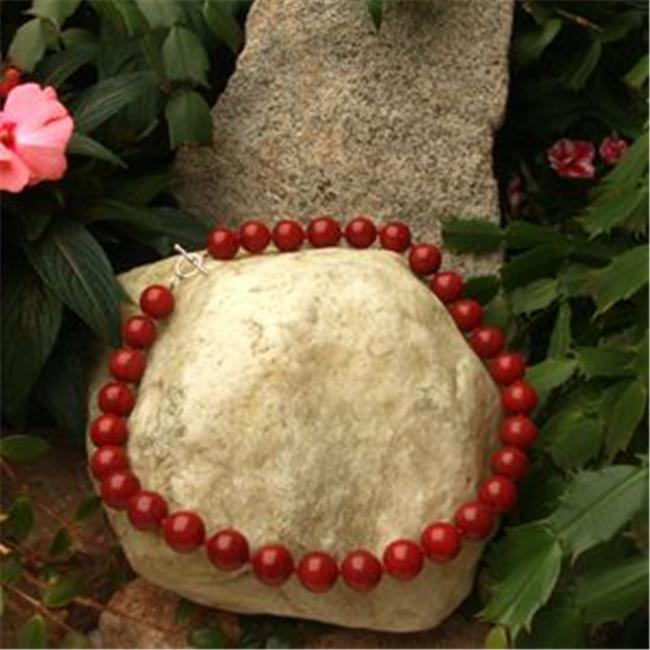 Betty Rocks BNKDRJ201140022T3 22 inch 14mm Round Dyed Red Jade Necklace