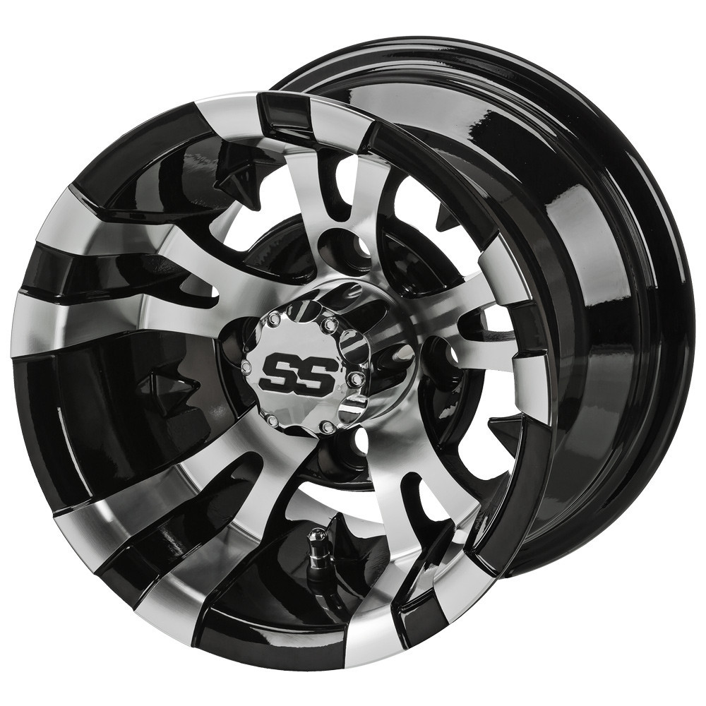 "Click here to buy 10"" Vampire Golf Cart Wheels and 205 50-10 DOT Low Profile Golf Cart Tires Combo Set of 4 by Steeleng."