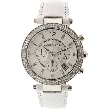 Silver Watch White Leather Belt (Women's Parker MK2277 White Leather Quartz Fashion Watch)