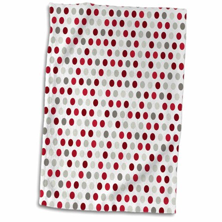 3dRose Red, Burgundy, Gray, and White Polka Dot Pattern - Towel, 15 by