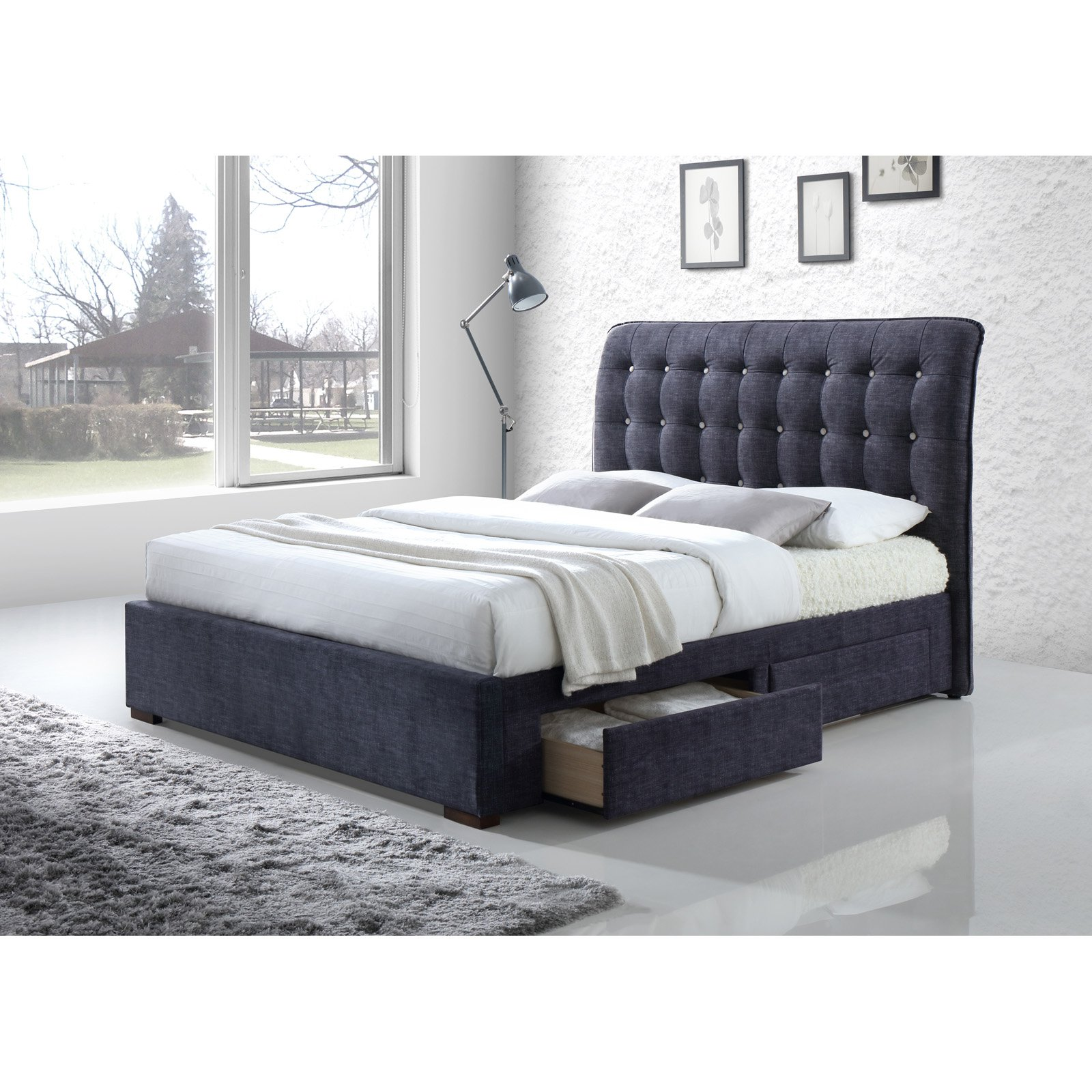 ACME Drorit Queen Bed with Storage in Dark Gray Fabric, Multiple Sizes