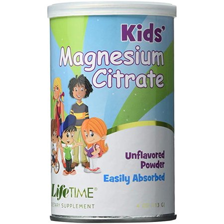 Pack of 3 - Lifetime Kids Magnesium Citrate Powder, 4 OZ Lifetime Calcium Magnesium Citrate