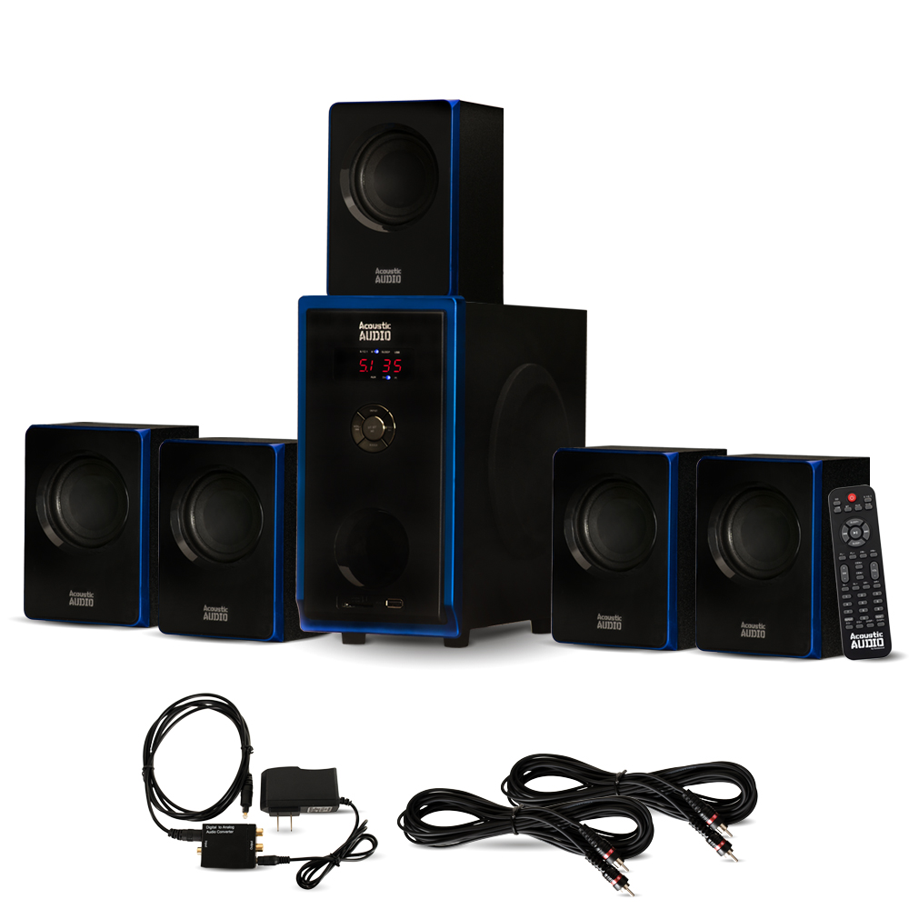 Acoustic Audio AA5102 Home Theater 5.1 Speaker System with Optical Input and 2 Extension
