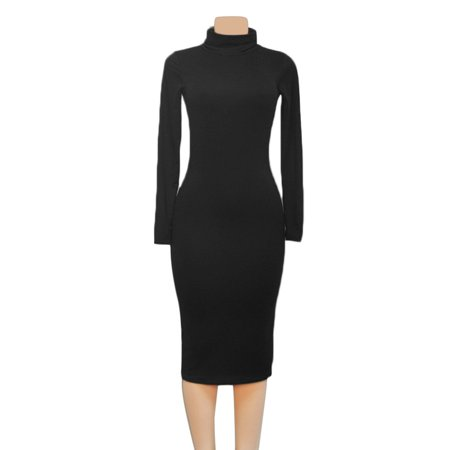 Sexy Women Clubwear High Collar Long Sleeve Slim Evening Party Black