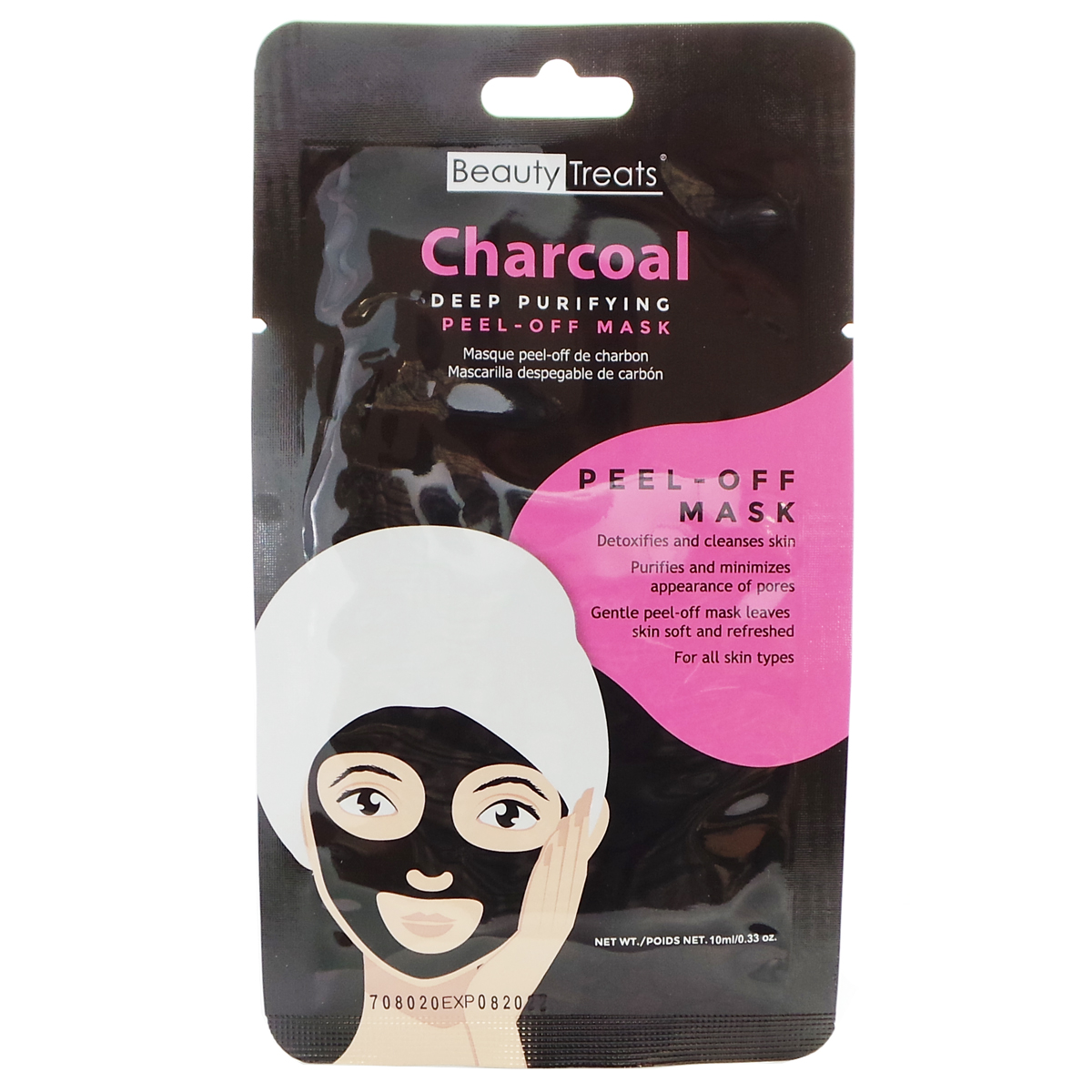 (6 Paquets) BEAUTY TREATS Deep Purifying Peel-Off Charcoal Mask