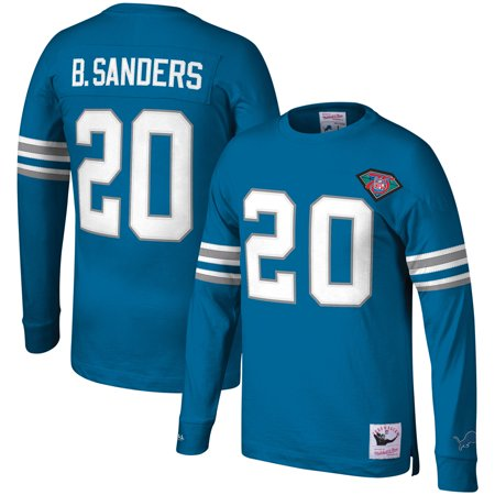 Barry Sanders Detroit Lions Mitchell & Ness Player Throwback Name & Number Long Sleeve T-Shirt - Blue (Detroit Lions Autographed Blue Jersey)