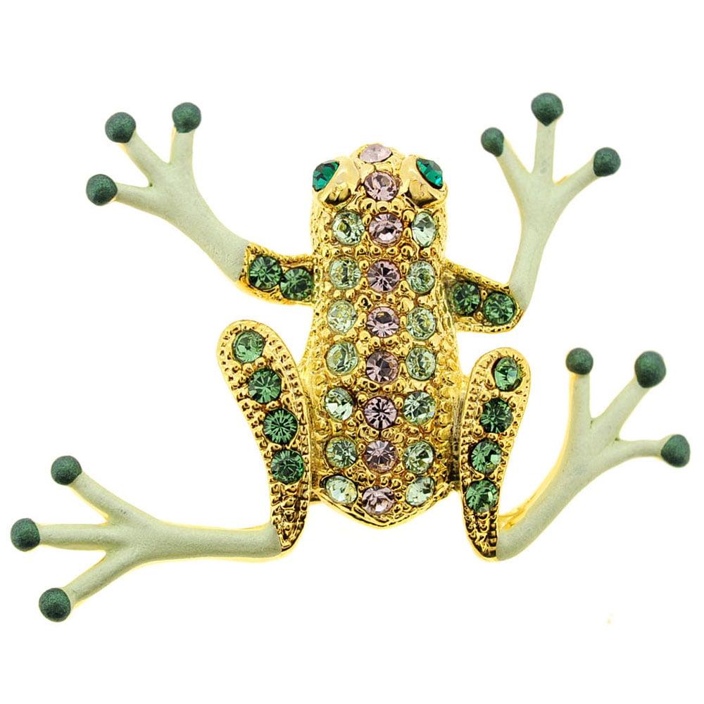 Green Frog Swarovski Crystal Pin Brooch by