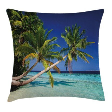 Tropical Throw Pillow Cushion Cover, Exotic Maldives Beach with Palms Paradise Coast Vacation Scenery, Decorative Square Accent Pillow Case, 18 X 18 Inches, Blue Turquoise Fern Green, by Ambesonne - Ferns Long Beach