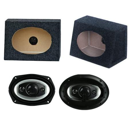 "2) NEW BOSS R94 6x9"" 500W Car Audio Speakers + 2) 6x9"" Speaker Box Enclosures"