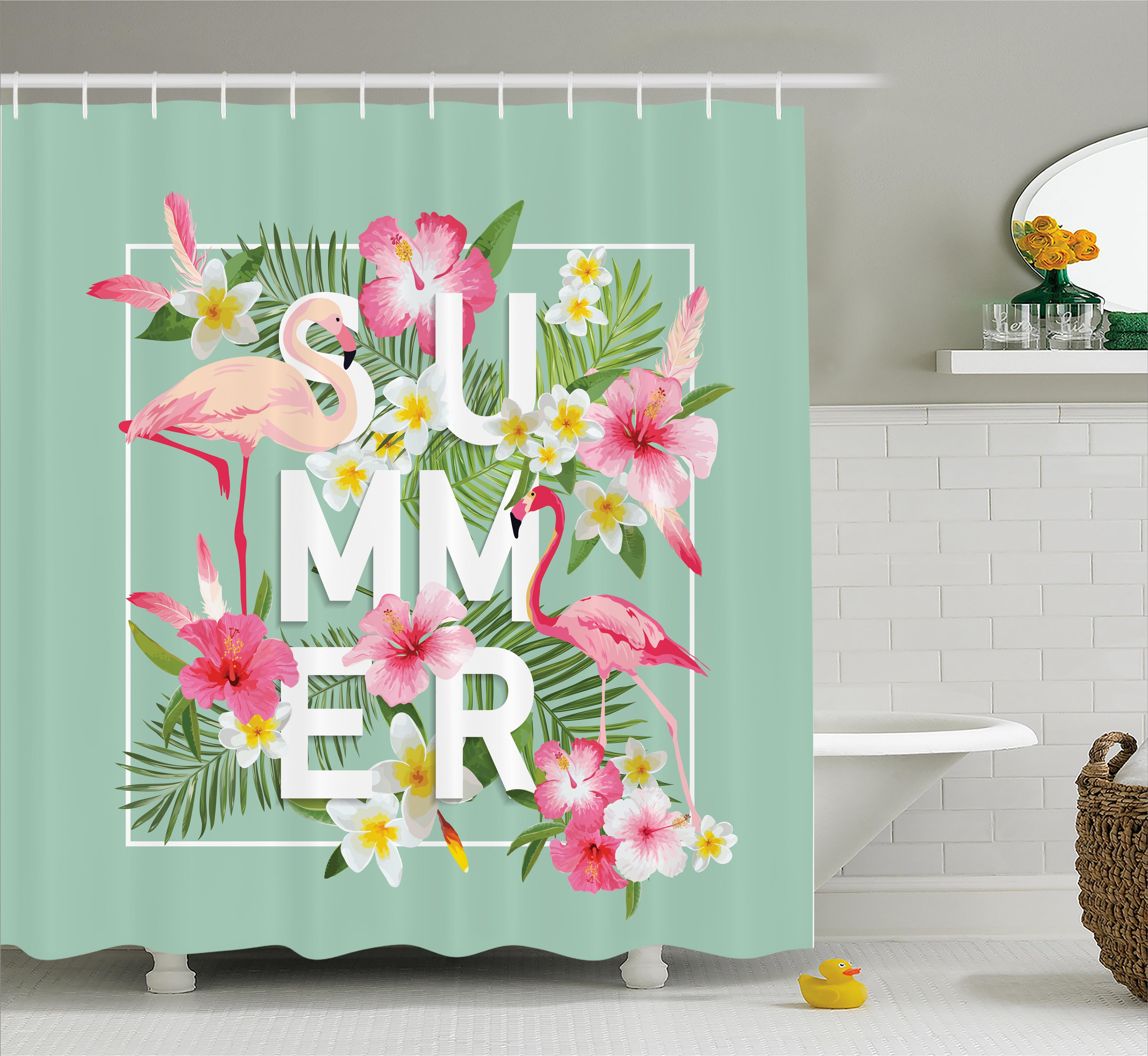 Floral Shower Curtain, Tropical Flower with Flamingos Retro Wedding Romance Petals Graphic Artwork, Fabric Bathroom Set with Hooks, 69W X 75L Inches Long, Mint Green Pink, by Ambesonne