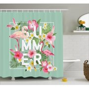 Fl Decor Shower Curtain Tropical Flower With Flamingos Retro Wedding Romance Petals Graphic Art