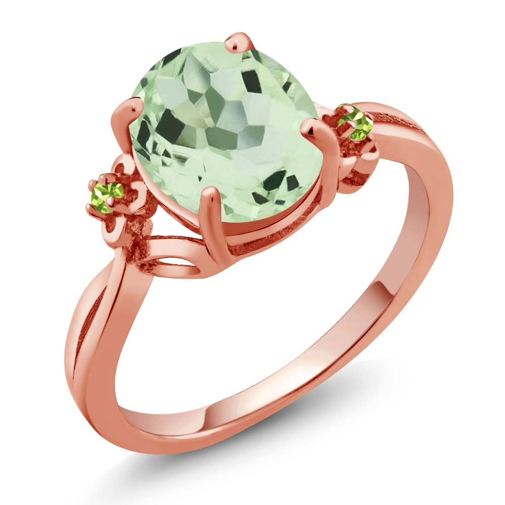 2.66 Ct Oval Amethyst and Simulated Peridot Rose Gold Plated 925 Silver Ring