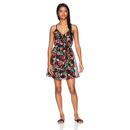 A. Byer Women's Floral Wrap Front Dress with Ruffles, Multi, S