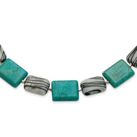 - Solid 925 Sterling Silver Dyed Howlite & Zebra Simulated Jasper Necklace Chain (20mm)