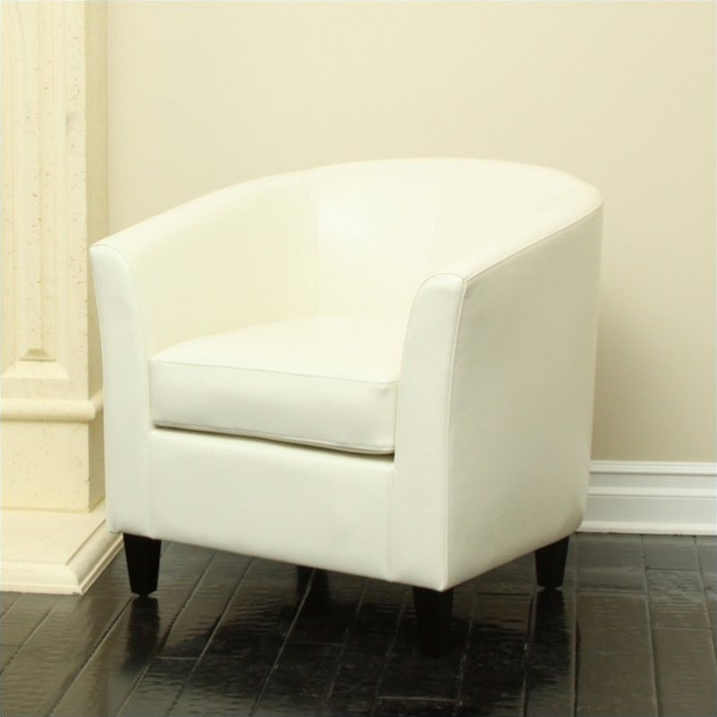 Trent Home Leather Club Chair in Ivory by Noble House