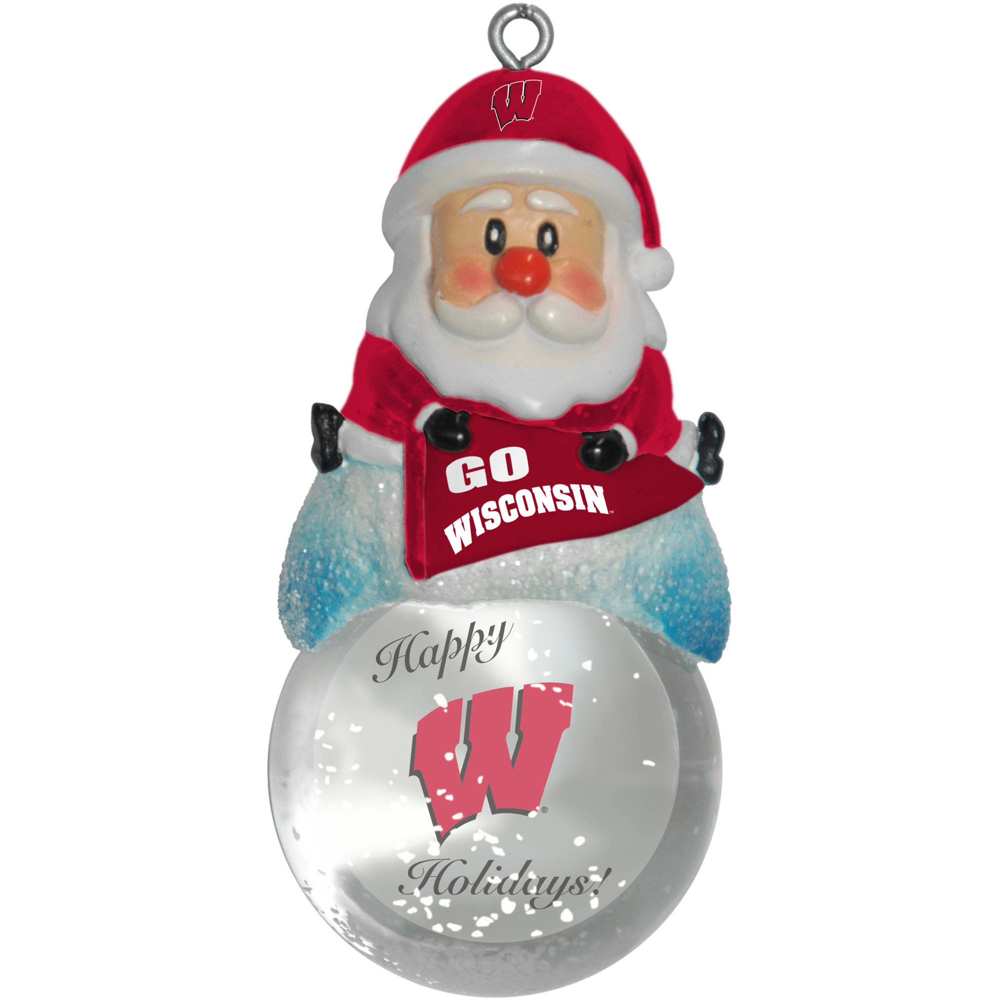 Topperscot by Boelter Brands NCAA Santa Snow Globe Ornament, University of Wisconsin Badgers