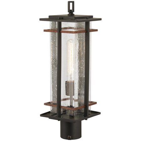 Antique Copper Outdoor Post Mount - Minka Lavery San Marcos 1 Light Post Mount - Black W/Antique Copper Accents - 72496-68
