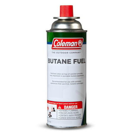 Coleman 8 oz Butane Canister for Portable Appliances & Stoves For use with many portable appliances that use 8 oz butane cartridge. The notched collar on top of canister provides easy alignment in portable butane appliances. Part 9701-700.