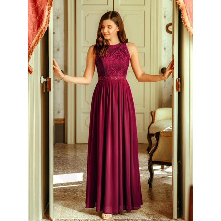 Ever-Pretty Womens Elegant Floral Lace Floor Length Formal Evening Prom Gowns for Women 07391 Burgundy US4 ()