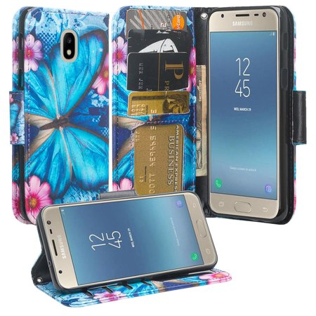 For Tracfone/StraightTalk Samsung Galaxy J3 Orbit (S367VL) Case Leather  Wallet Case [ID&Credit Card Slots] Flip Phone Cases - Blue Butterfly