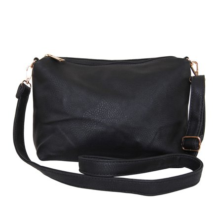 Crossbody Bag - Vegan Leather Satchel Messenger Hobo Handbag Shoulder Purse, Black - 14 inch, by Humble Chic NY