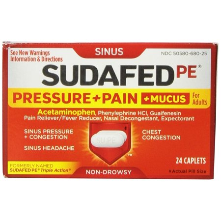 Sudafed PE Pressure + Pain + Mucus, 24 Count (Best Medicine For Sinus Congestion)